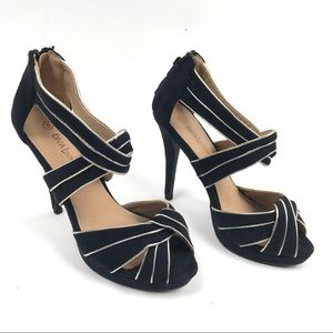 Diva Lounge 8 Suede Open Toe Strappy Heels Shoes